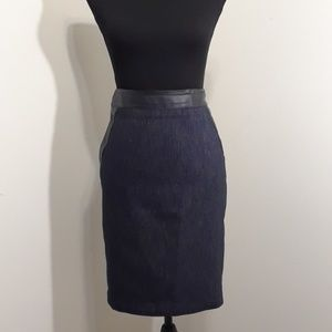 Ann Taylor Tweed Pencil Skirt w/Faux Leather